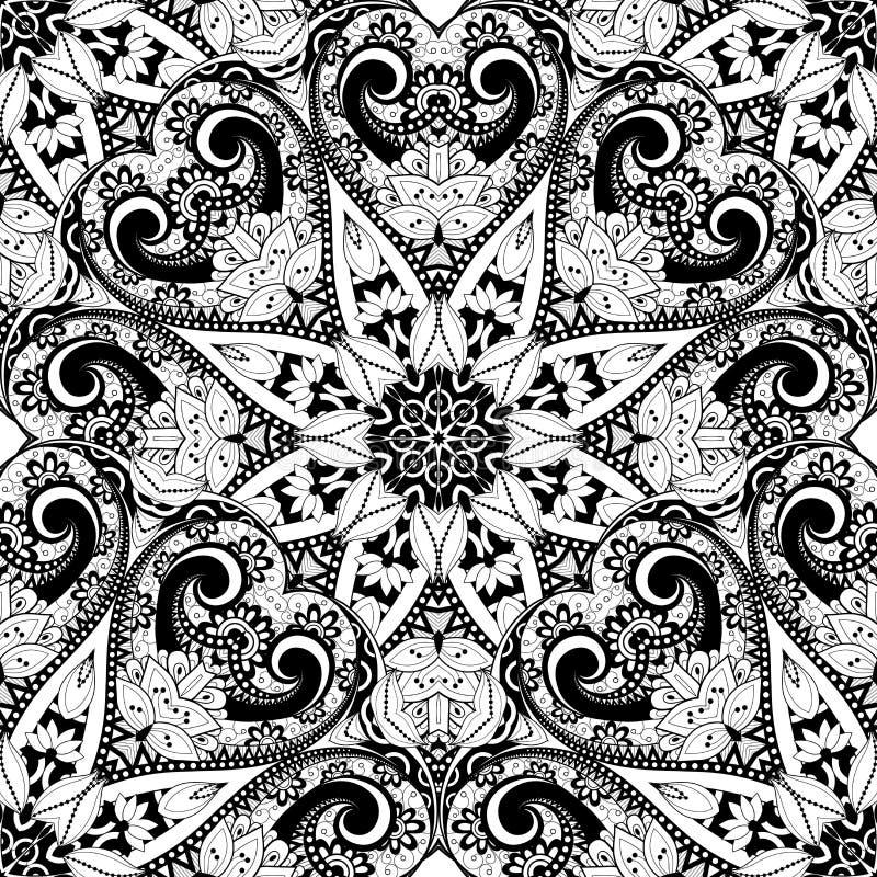 Vector Seamless Monochrome Ornate Pattern. Hand Drawn Mandala Texture, Vintage Indian Style stock illustration