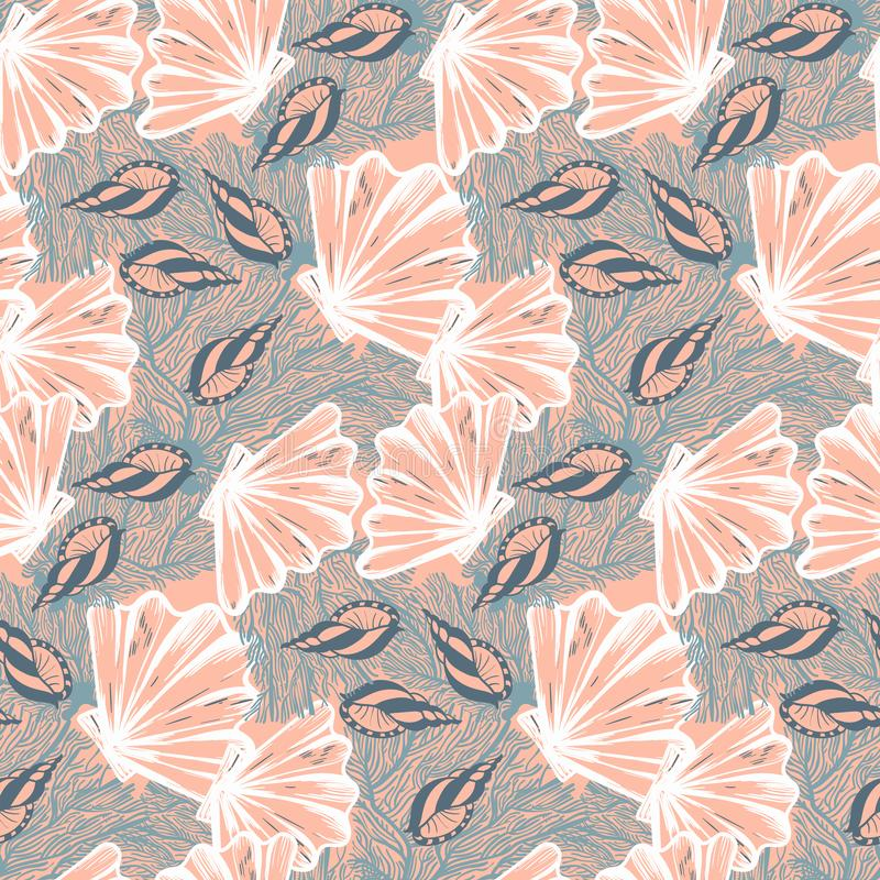 Vector seamless nautical pattern with hand drawn striped shells royalty free illustration