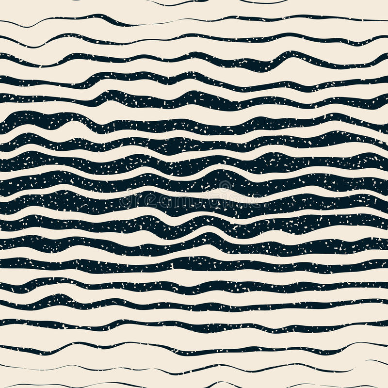Free Vector Seamless Navy White Horizontal Hand Drawn Distorted Lines Retro Grunge Pattern Royalty Free Stock Photography - 65852857