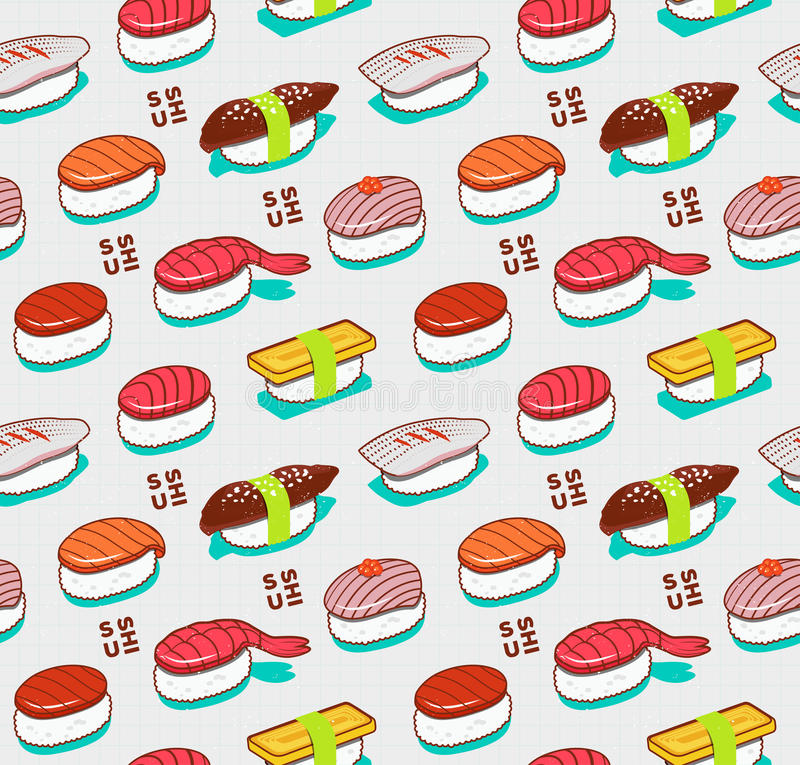 Vector seamless nigiri sushi pattern. Japanese doodle food cover in vintage sketch style. royalty free illustration