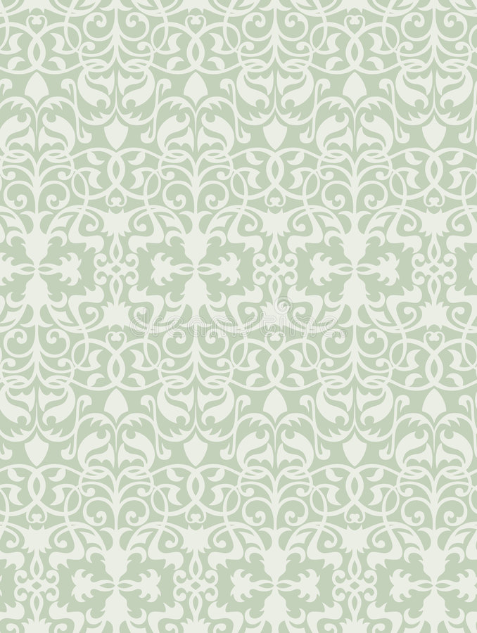 Vector. Seamless Olive Classicism Wallpaper. Seamless Olive/White Classicism Wallpaper royalty free illustration