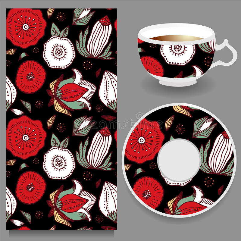 Vector seamless orient floral pattern with cup and plate. russian design. Ill stock illustration