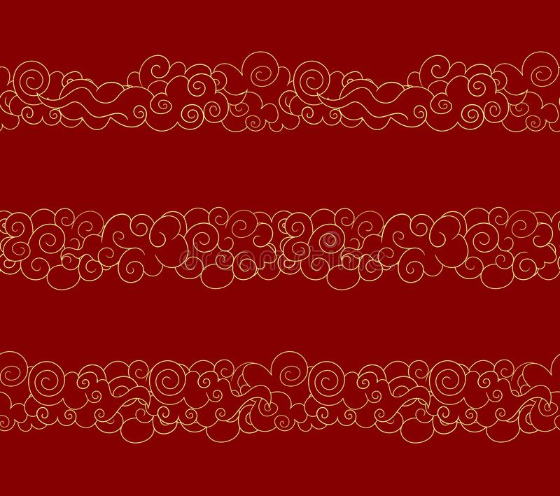 Vector Seamless Oriental Clouds, Golden Lines, Traditional Style Design Elements Set. stock illustration