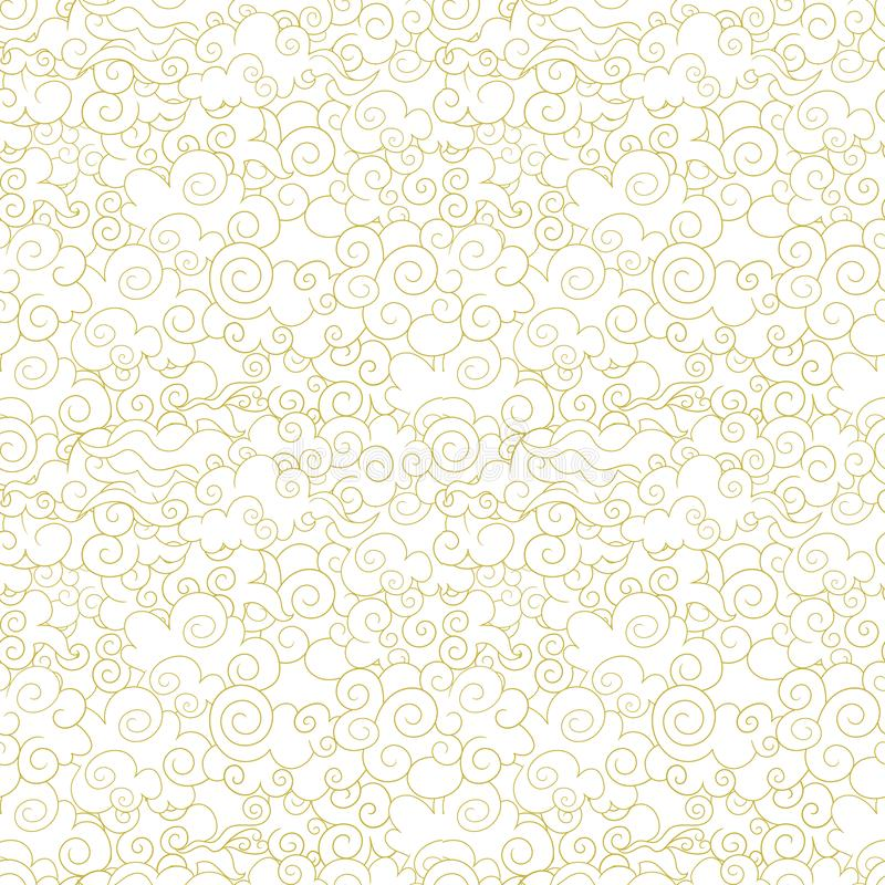 Vector Seamless Oriental Pattern, Ornamental Clouds, Wave Shapes Abstract Background, Golden Lines. vector illustration