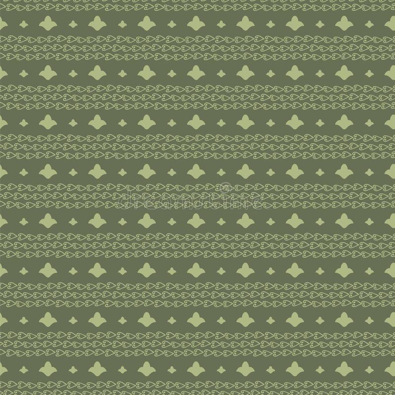 Vector seamless ornament horizontal stripes from outlines of flowers and curls in chains green olive pattern background. royalty free illustration