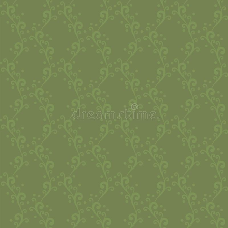 Vector seamless ornament with swirls and dots extended vertical knitted green floral pattern background. Vector seamless ornament with swirls and dots extended royalty free illustration
