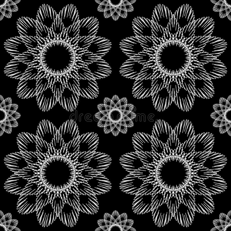 Vector Seamless Ornamental Black And White Pattern Endless Texture vector illustration