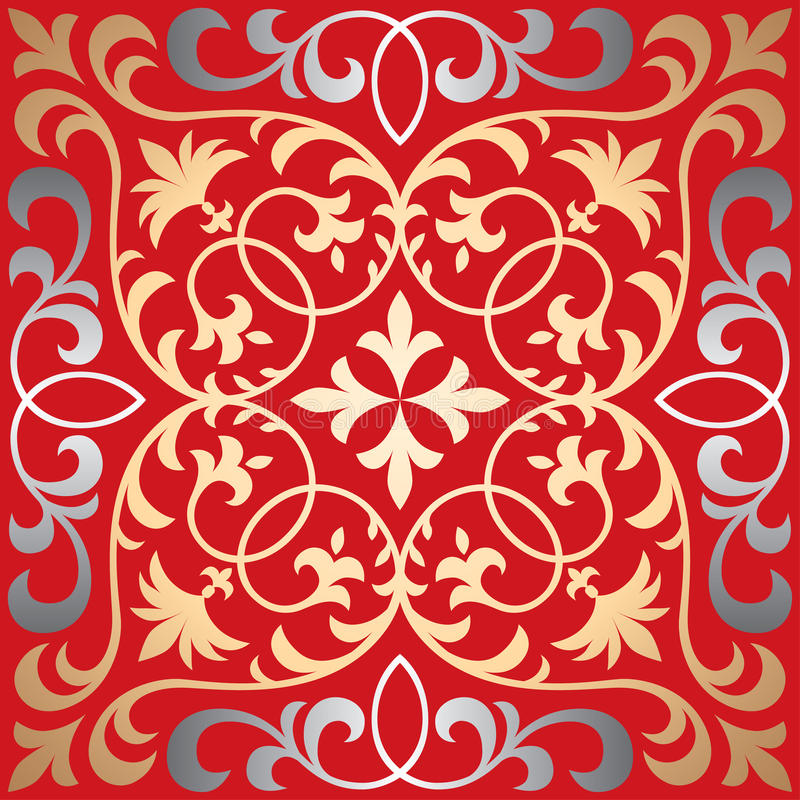 Vector seamless ornate oriental tile pattern. Seamless patchwork pattern from ornate tiles, ornaments. Can be used for wallpaper, pattern fills, web page vector illustration
