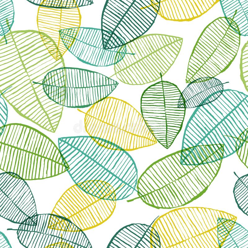 Vector seamless outline leaves pattern. Green and white stock illustration