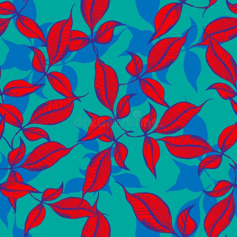 Vector seamless outline leaves pattern. Red ink engraved on blue green background. Trendy elegant design concept for vector illustration