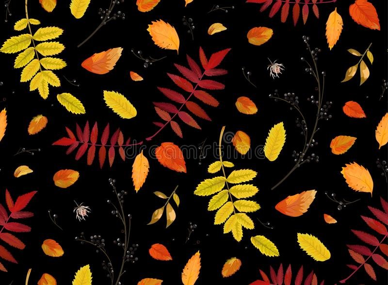 Vector Seamless patten background in watercolor style Autumn fall season colorful orange yellow, red fall leaves of forest vector illustration