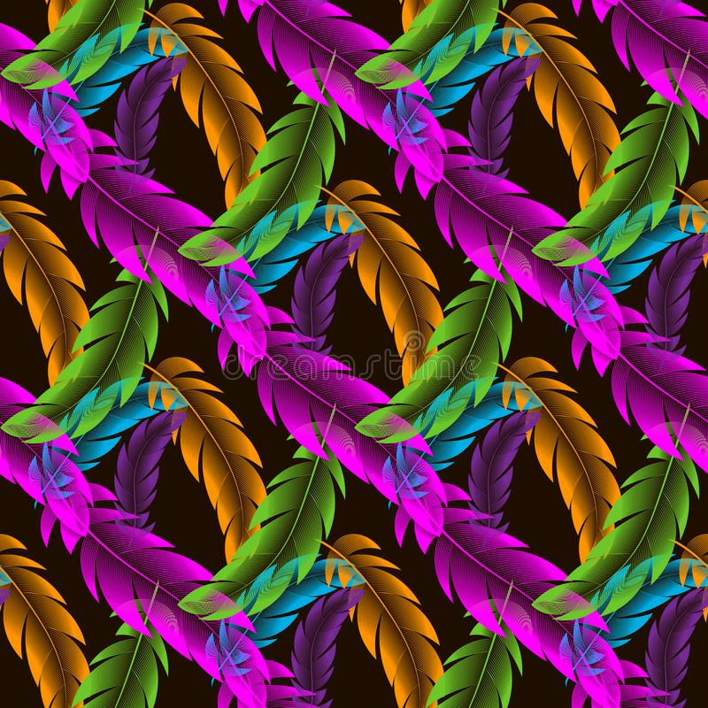 Vector Seamless pattern with abstract colorful feathers. 10 eps royalty free stock photos