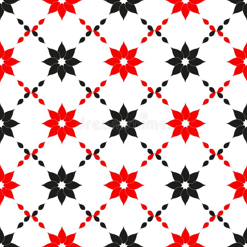 Vector seamless pattern. Abstract design with red and black flowers. Simple floral minimalistic background. royalty free illustration