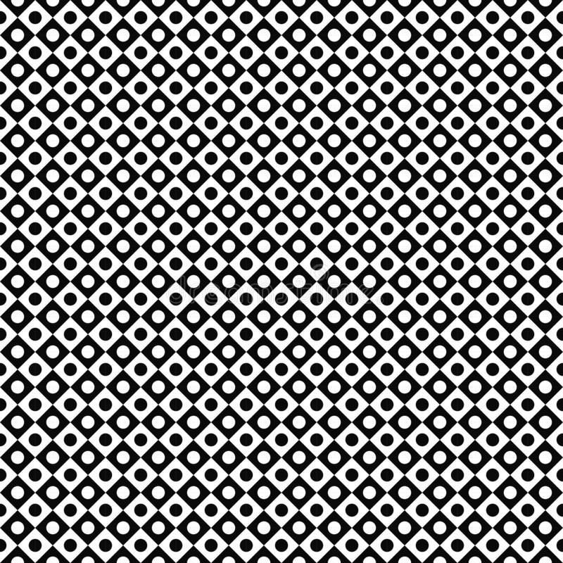 Vector seamless pattern. Abstract geometric texture. Black-and-white background. Monochrome circle in square design. vector illustration