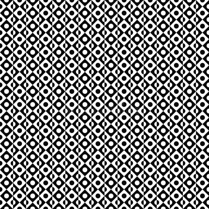 Vector seamless pattern. Abstract geometric texture. Black-and-white background. Monochrome divided circle in rhombus design. vector illustration