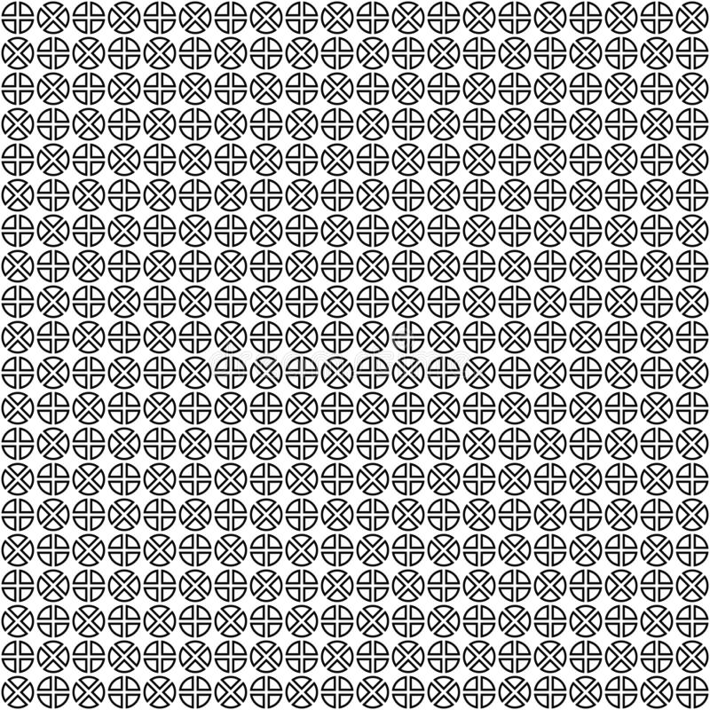 Vector seamless pattern. Abstract geometric texture. Black-and-white background. Monochrome divided circles design. stock illustration