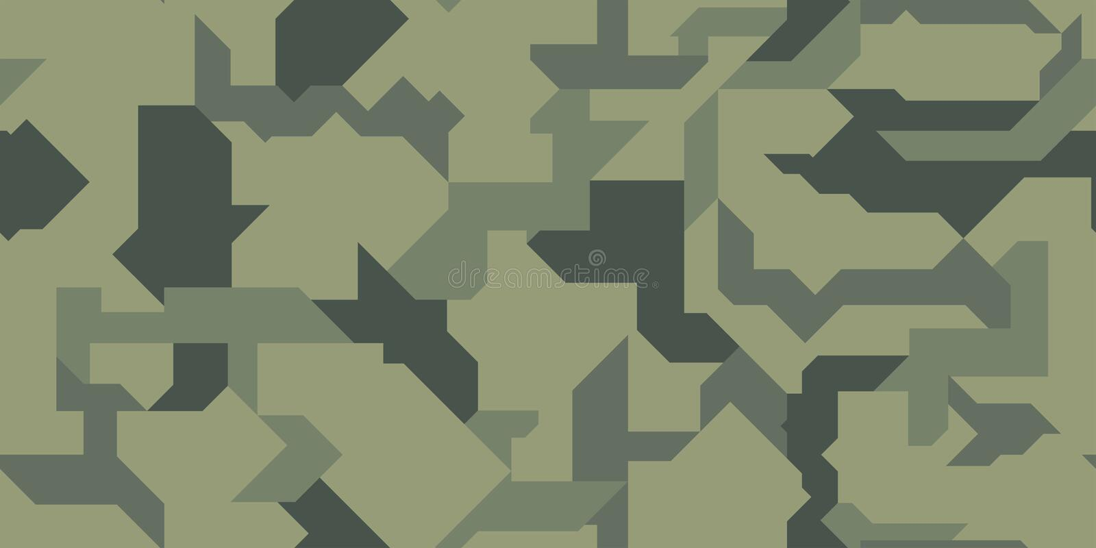 Vector seamless pattern. Abstract modern geometric camouflage for cloth, cars vehicles and weapons. stock photo