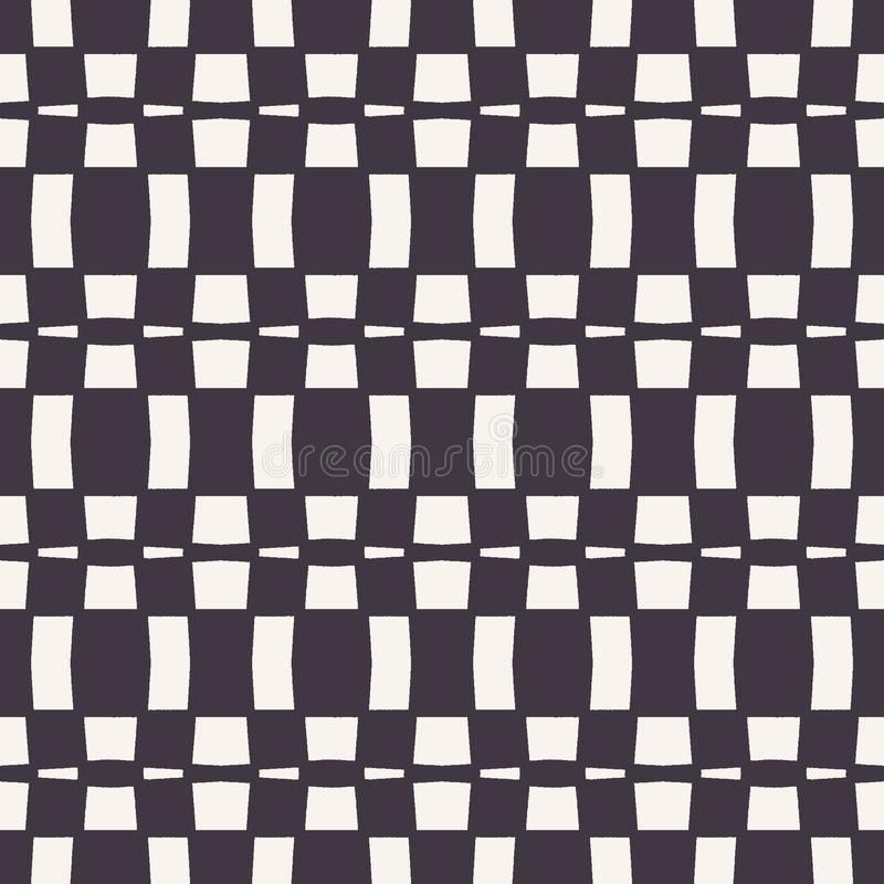 Vector seamless pattern. Abstract rectangle checkerboard background. Monochrome hand drawn texture illustration. Modern classic stock illustration