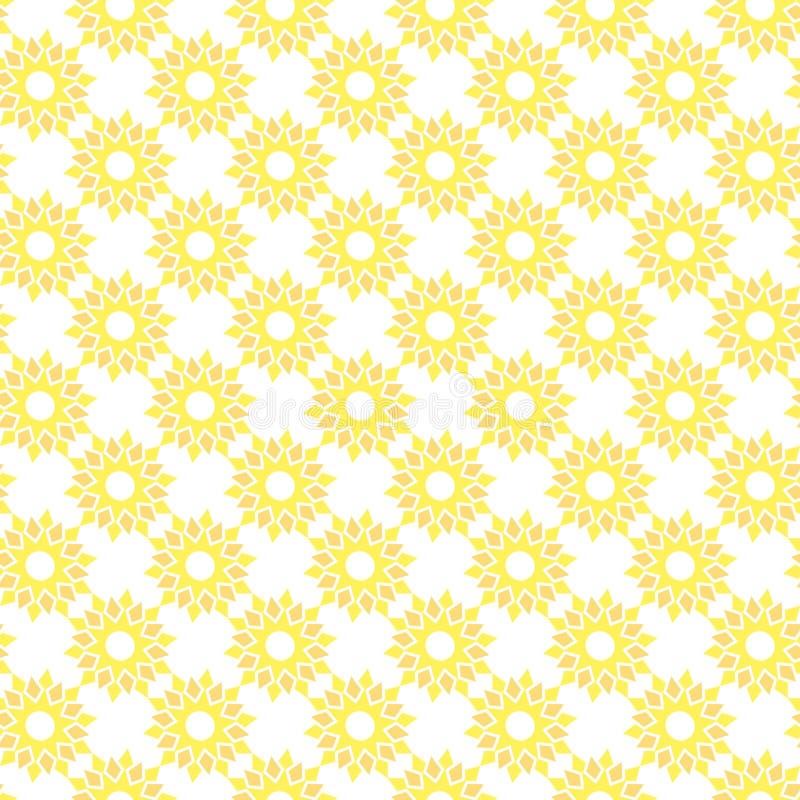 Vector seamless pattern of abstract sunflower in minimalist style stock illustration