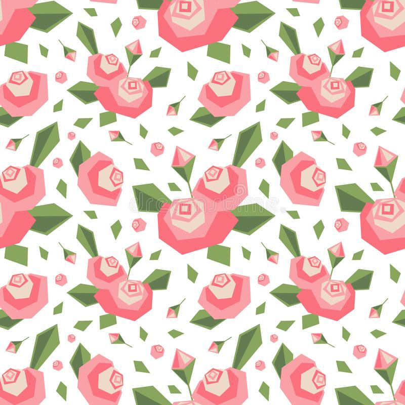 Vector seamless pattern with angular stylized pink flowers and leaves. Soft colors. Simple cute design background. royalty free illustration