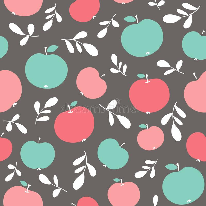 Vector seamless pattern with apples stock photography