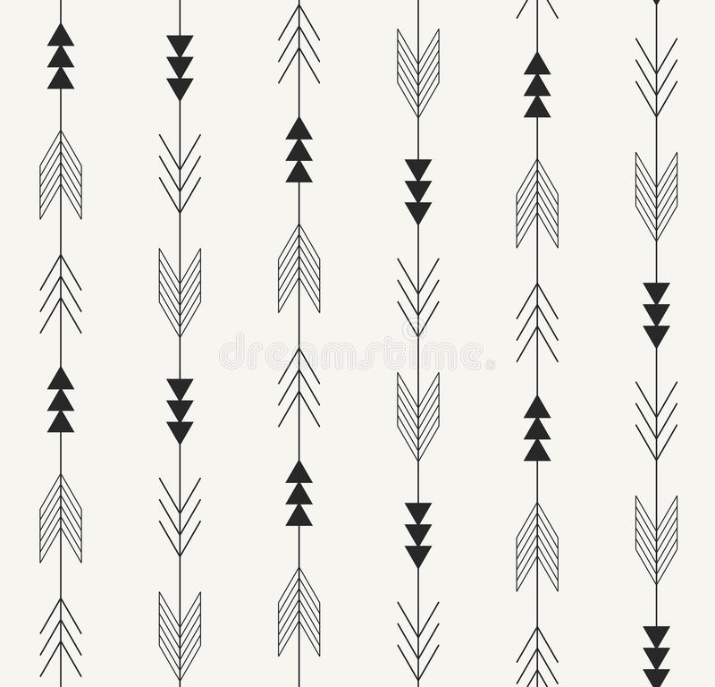 Vector seamless pattern. Arrows from traditional Mexican Aztec culture in trendy outlined style. Modern repeating background. vector illustration