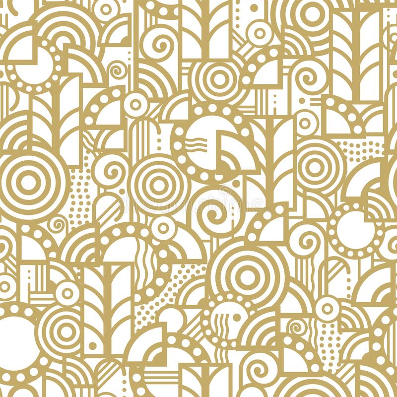 Vector seamless pattern in an art deco style. Made from various elements arranged randomly in a gold color on a white background royalty free illustration
