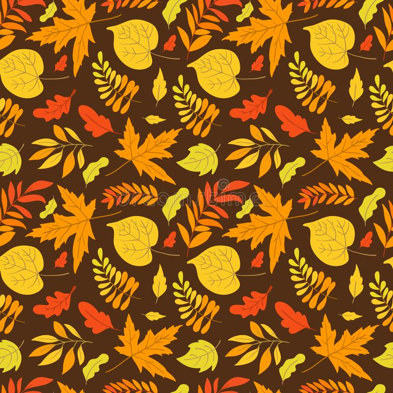 Vector seamless pattern with aspen, oak and maple. Vector seamless pattern with oak, maple, aspen leaves and plants on background. Perfect for wallpaper, gift stock illustration