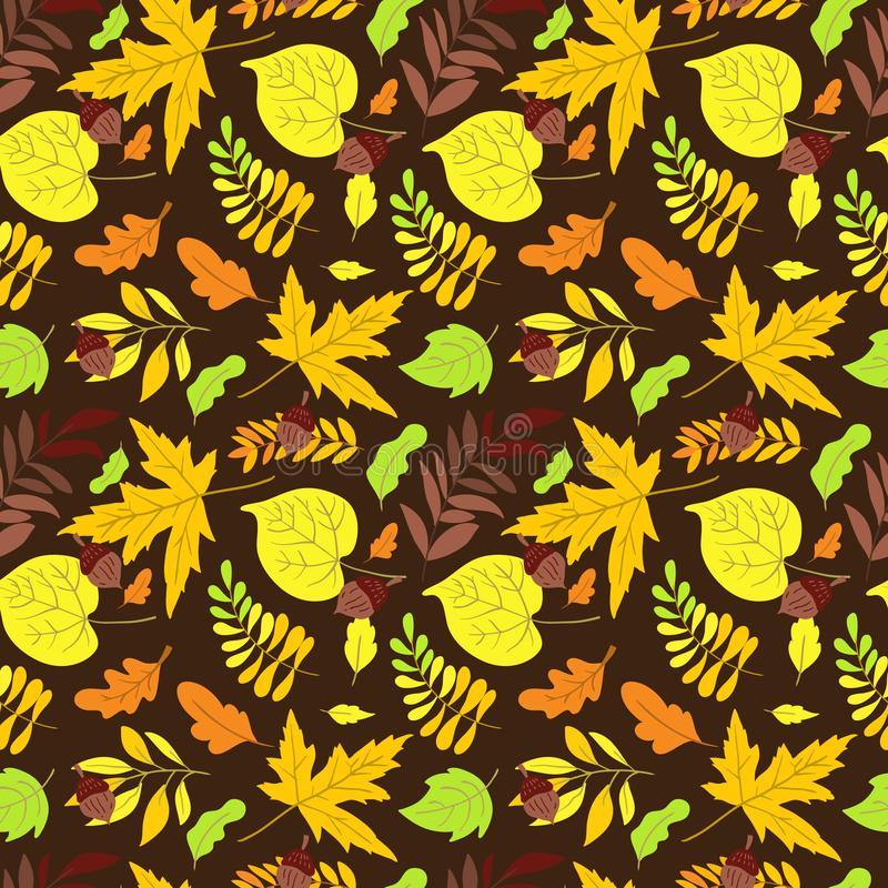 Vector seamless pattern with aspen, oak and maple. Vector seamless pattern with oak, maple, aspen leaves and plants on background. Perfect for wallpaper, gift royalty free illustration
