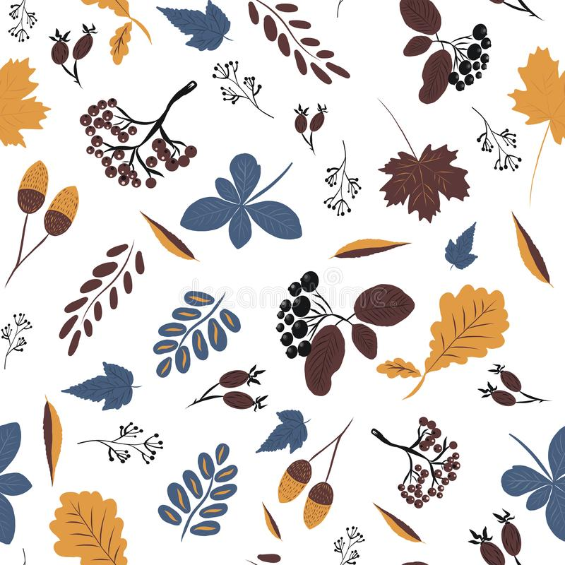 Vector, seamless pattern with autumn colorful leaves and hand-drawn fruits, autumn mood royalty free illustration