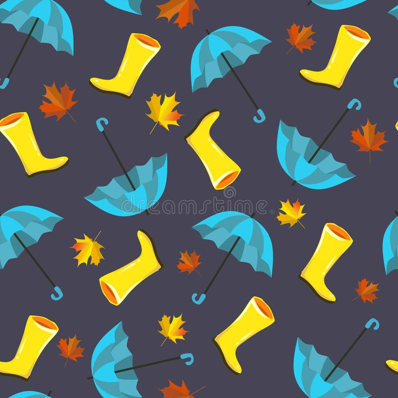 Vector seamless pattern with autumn elements, illustrations. Yellow rain, rubber boots,blue umbrellas and maple leaves, foliage. A royalty free illustration