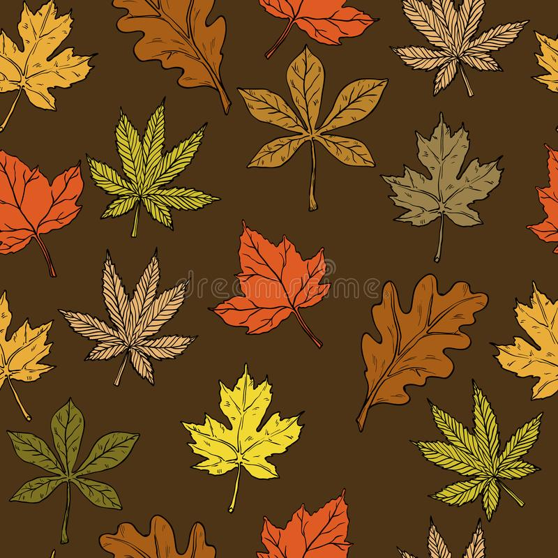 Vector Seamless pattern with autumn leaves. Fall background royalty free illustration