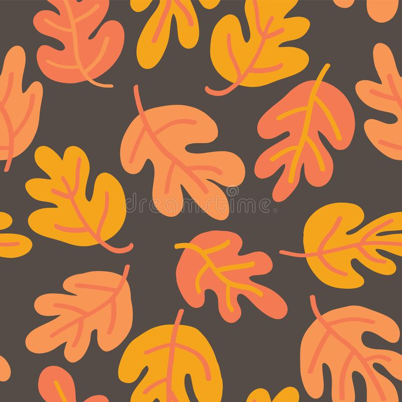 Vector seamless pattern of autumn leaves. Oak leaf subtle fall background orange, yellow, and brown for textile, digital paper,. Wallpaper, web banner vector illustration