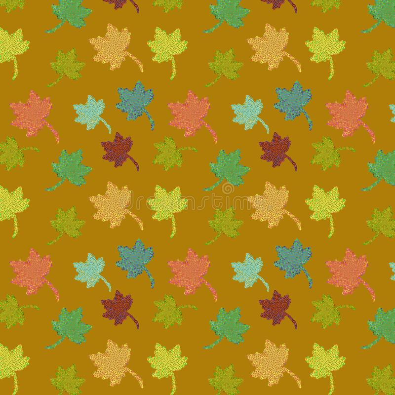 Vector seamless pattern of autumn leaves over golden background royalty free illustration