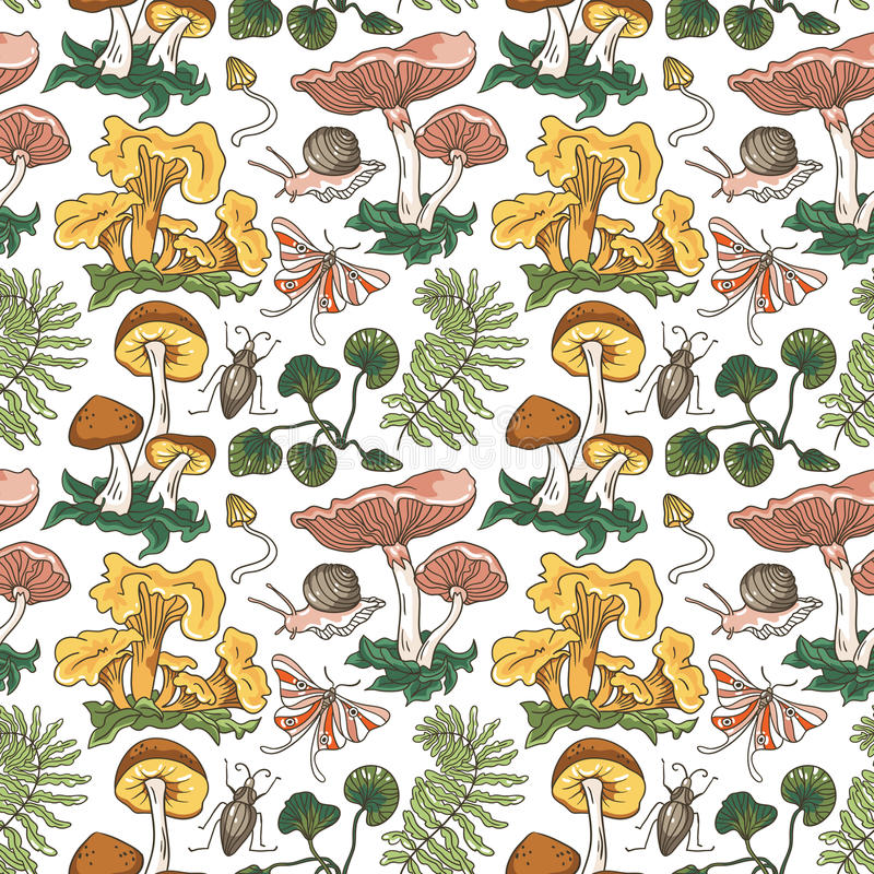 Vector seamless pattern background with different mushrooms, plants and insects. stock illustration