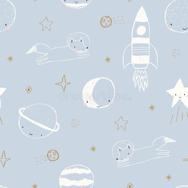 Vector seamless pattern with fox astronaut, rocket ship, planets and stars stock illustration