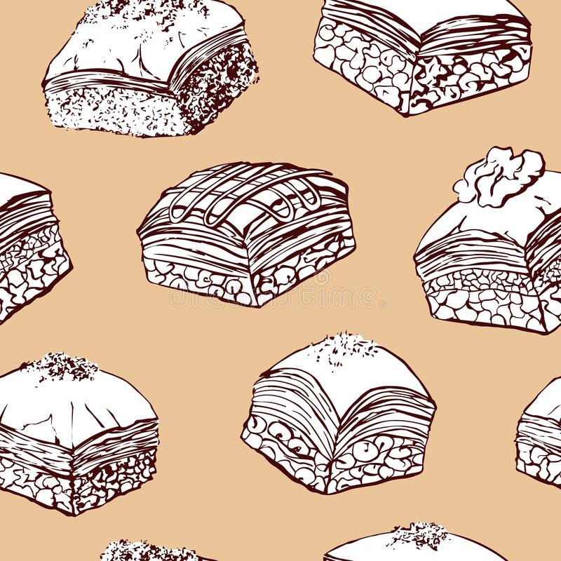 Vector seamless pattern with baklava on beige background vector illustration