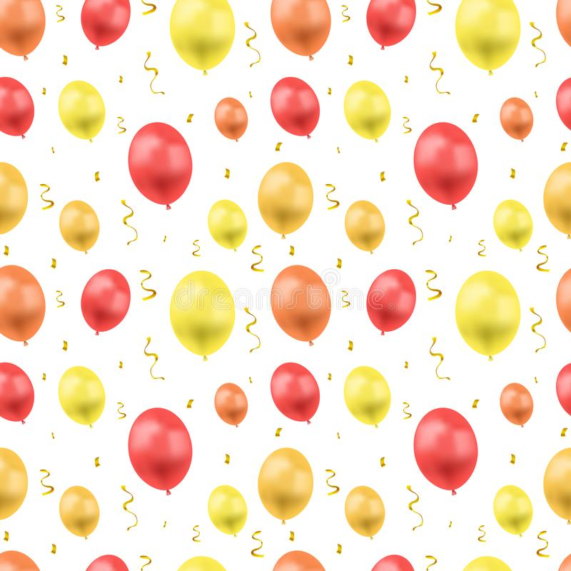 Vector Seamless Pattern, Ballons and Serpentin, Bright Golden Confetti Explosion, Birthday Greeting Card Background Template. Vector Seamless Pattern, Ballons royalty free illustration