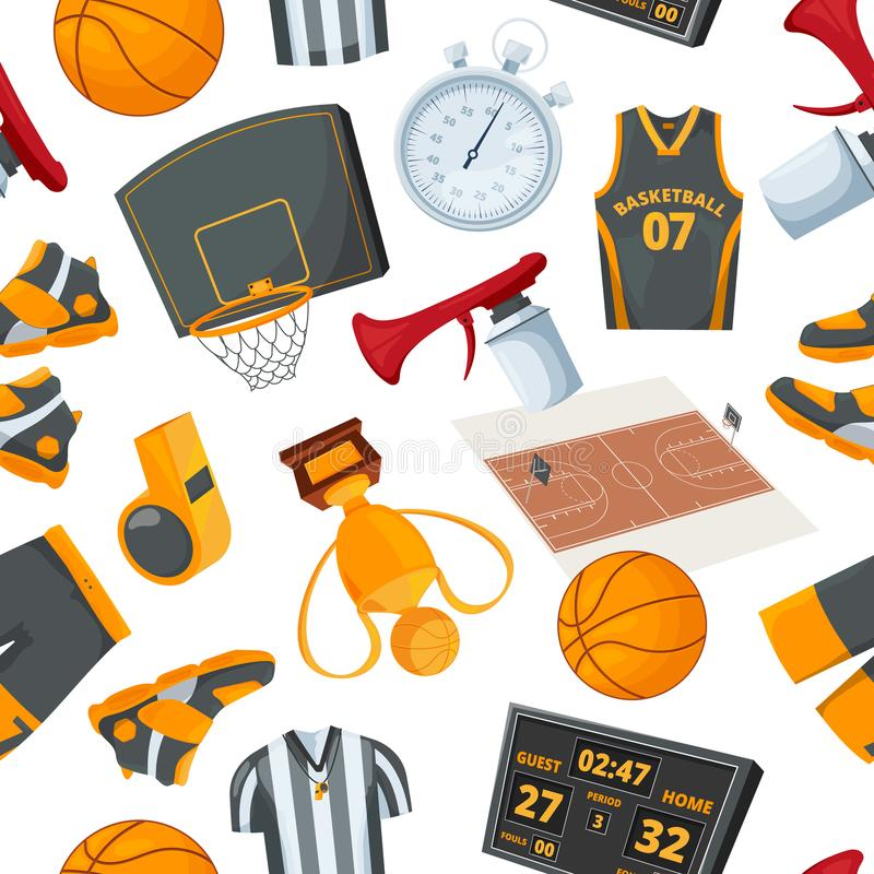 Vector seamless pattern at basketball theme. Illustrations in cartoon style stock illustration