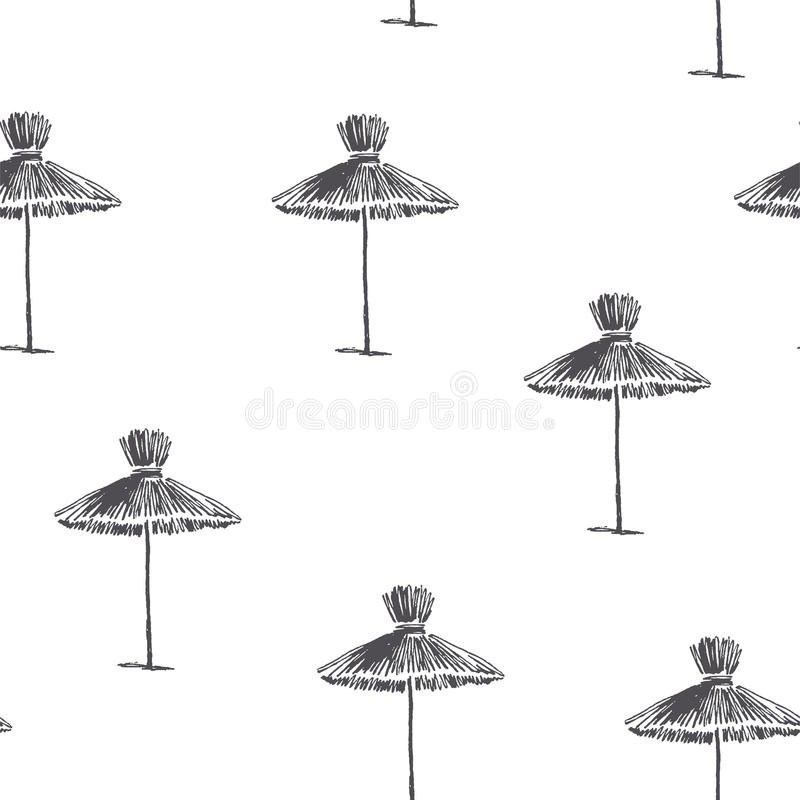 Vector seamless pattern with beach umbrellas. Vintage hand drawn royalty free illustration