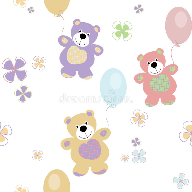 Vector seamless pattern with bears royalty free illustration
