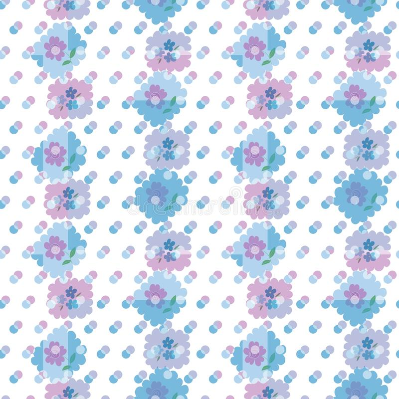 Vector seamless pattern with beautiful flowers, clouds and colorful dots. stock illustration