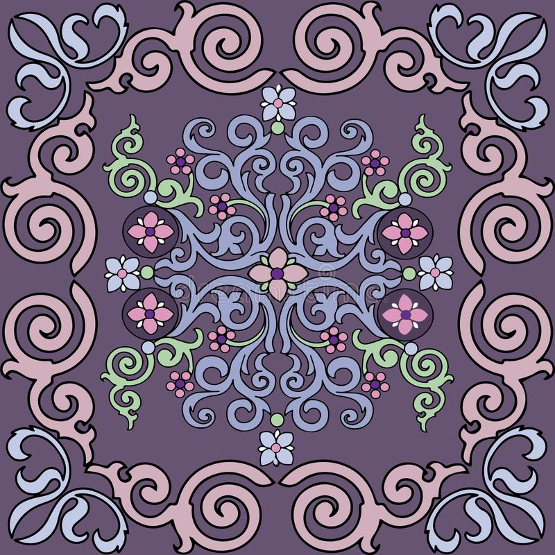 Vector seamless pattern with beautiful ornament. The colors of lavender. Exquisite antique style. vector illustration
