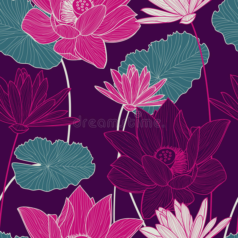 Vector seamless pattern with beautiful pink lotus flower and gre royalty free illustration