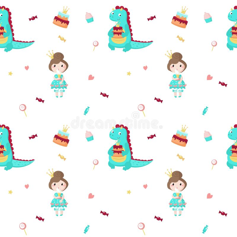 Vector seamless pattern with beautiful princess and dragon royalty free illustration