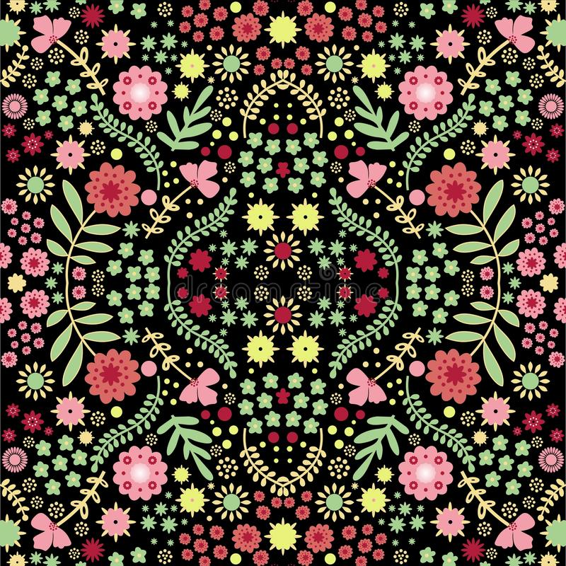 Vector seamless pattern with beautiful risal flower royalty free stock photography
