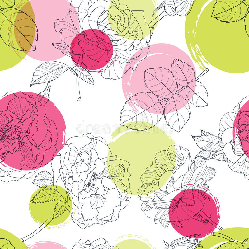 Vector seamless pattern with beautiful roses flower and colorful watercolor blots. Black and white floral line illustration. Design for fabric, textile print vector illustration