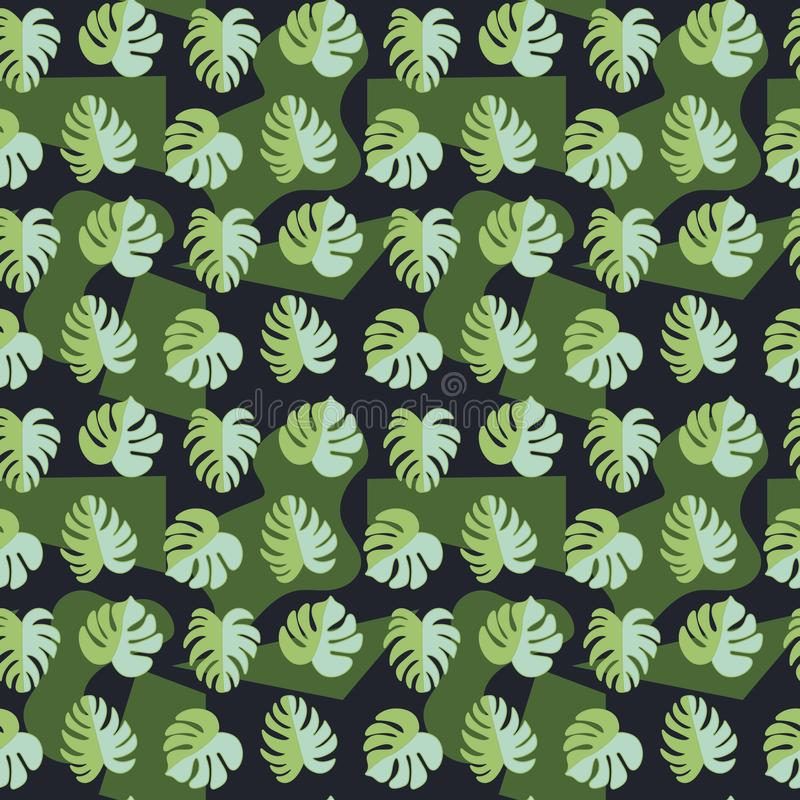 Vector seamless pattern, beautiful tropical leaves on dark background. Abstract spots. Military Style. Beautiful tropical leaves royalty free stock photos