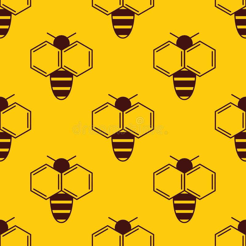 Vector seamless pattern of bee logo on honey background royalty free illustration