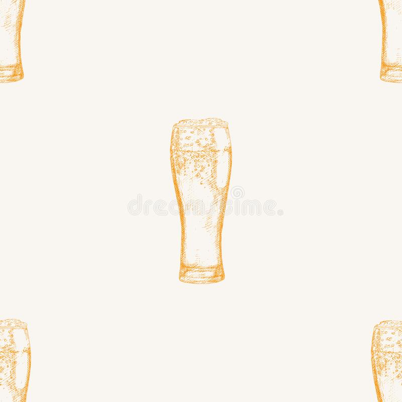 Vector seamless pattern with beer glasses. Hand drawn illustration stock illustration